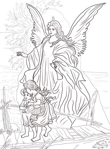 children  protected  guardian angel coloring page  printable coloring pages