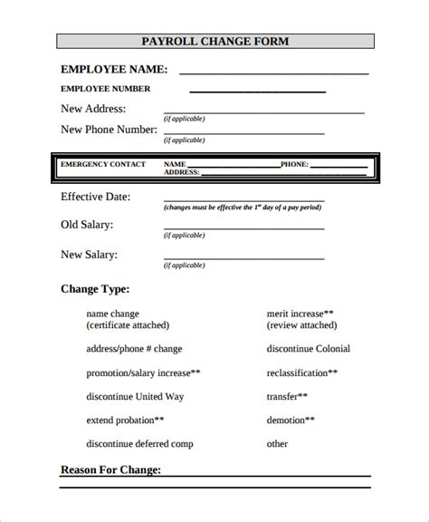 Payroll Change Form Template Free by 13 Payroll Templates Free Sle Exle Format