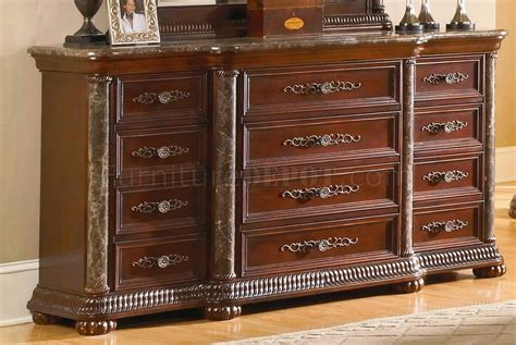 Bedroom Set With Marble Top by Cherry Finish Mediterranean Classic 5pc Bedroom Set W