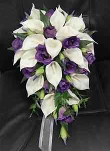 WEDDING BOUQUET FLOWERS BOUQUETS SILK TEARDROP WHITE CALLA ...