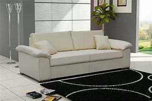 canape convertible cuir pu 3 places dolce blanc chocolat With canape cuir blanc convertible 3 places