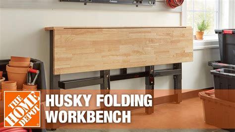 husky folding workbench garage storage ideas youtube