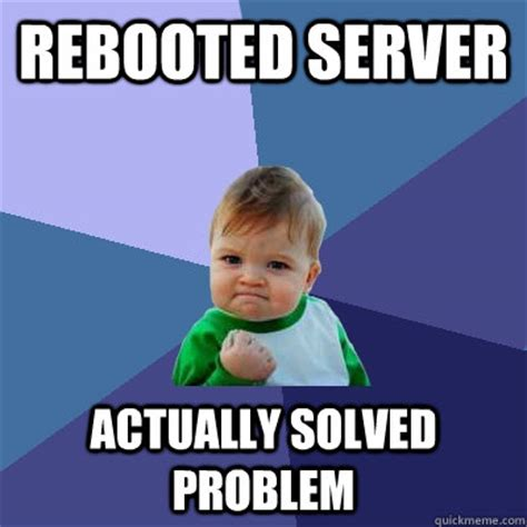 Server Meme - rebooted server actually solved problem success kid quickmeme
