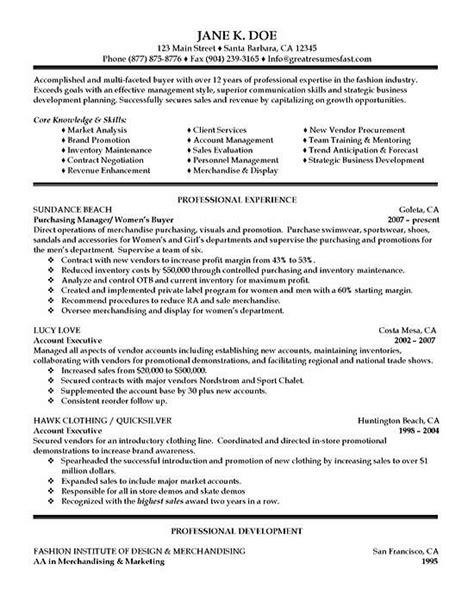 purchasing resume exle resumes sle resume