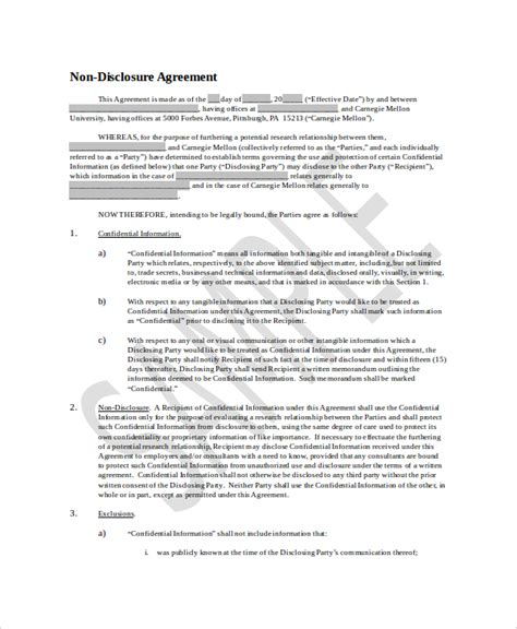 Non Circumvention Non Disclosure Agreement Template by Non Disclosure And Confidentiality Agreement Templates