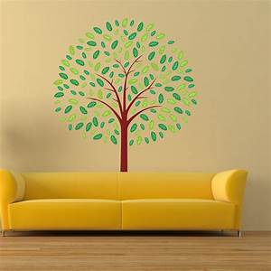 Wall decals tree art green leaves nature decal