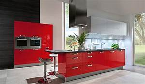 Trend einbaukuche aspen rot glaenzend kuchen quelle for Hochglanz küche rot