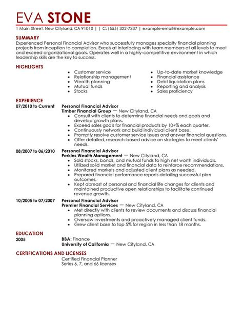 best personal financial advisor resume exle livecareer