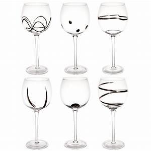 Cloche En Verre Maison Du Monde : coffret 6 verres pied en verre argent graphique ~ Melissatoandfro.com Idées de Décoration