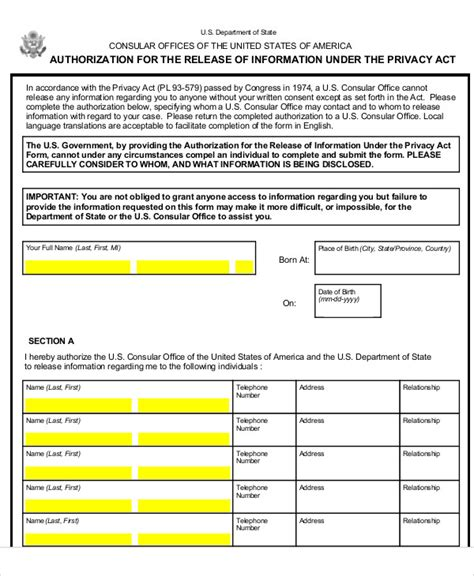 Privacy Release Form Template by 9 Sle Privacy Act Release Forms Sle Templates