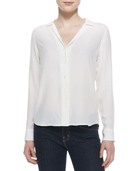 sleeve blouse equipment adalyn silk sleeve blouse in white lyst