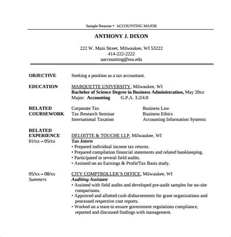 Tax Accountant Resume Exles by Accountant Resume 12 Free Documents In Pdf Word
