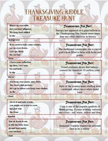 free printable thanksgiving riddle treasure hunt 18 mix and match clues