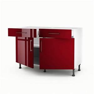 Meuble Bas Cuisine 120 Cm : meuble de cuisine bas rouge 2 portes 2 tiroirs griotte h ~ Dode.kayakingforconservation.com Idées de Décoration