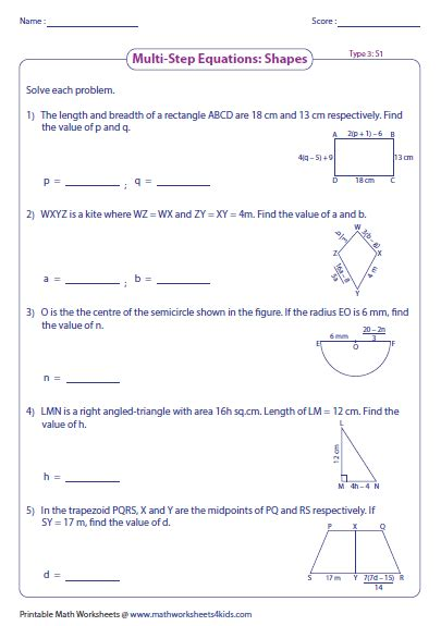 Multistep Equation Worksheets