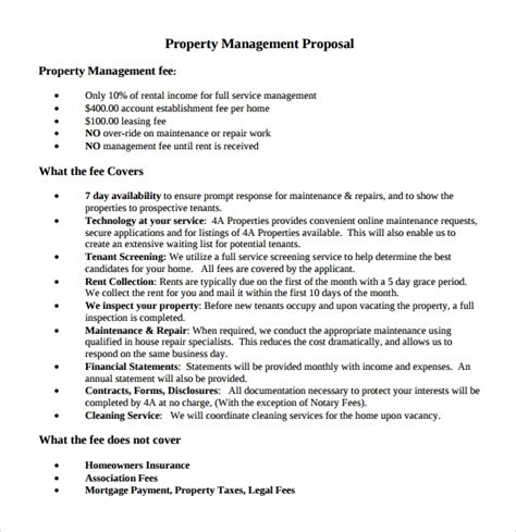 sample property management proposal template