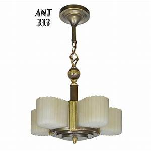 Art deco streamline markel five light slip shade chandelier ant for sale antiques