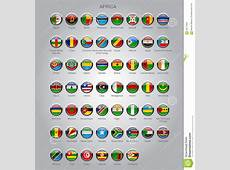 Set Of Round Glossy Flags Of Sovereign Countries Of Africa