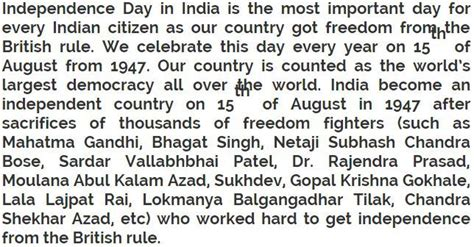 independence day short essay  words independence day