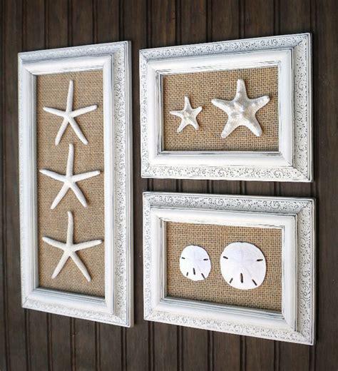 Coastal Bathroom Wall Decor by Trio Of Coastal Wall Decor Cottage Chic Framed Starfish Wall