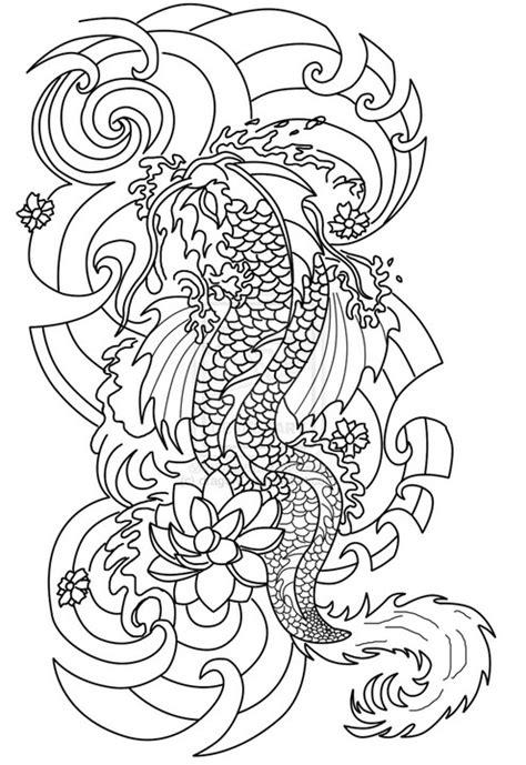 Coloriage anti-stress Tatouages : Tatouage japonais 8