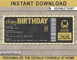 Ticket Printing Templates Birthday Gift Train Ticket Boarding Pass Surprise Train