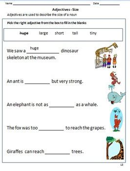 adjectives worksheets  grade   google classroom