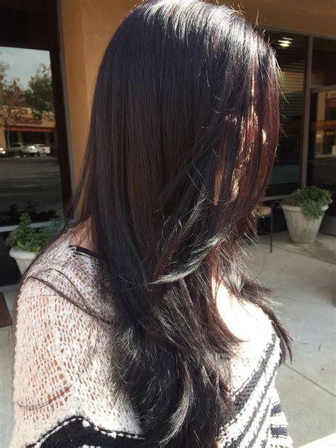 dark violet brown hair long  layers