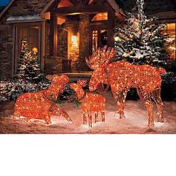 lighted moose christmas decorations christmas trees and outdoor christmas lights wreaths