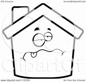 Cartoon Clipart Of A Black And White Sick Home Face ...