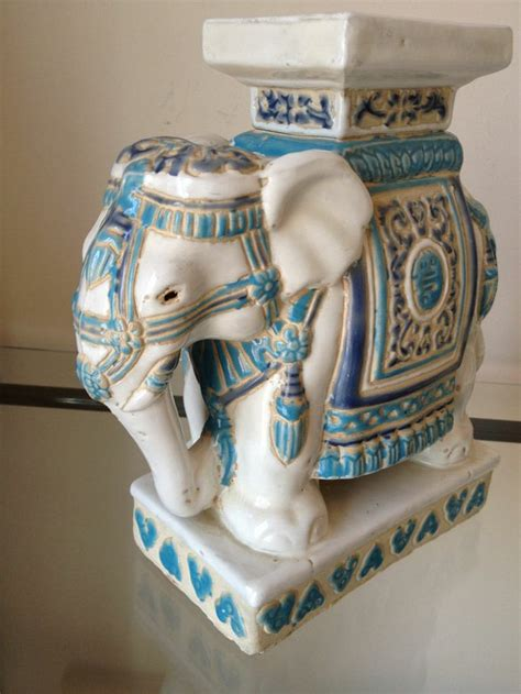elephant plant stand large vintage ceramic elephant plant stand in light blues