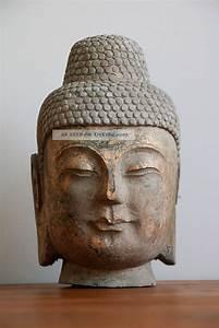 Buddha Aus Stein : buddha kopf steinbuddha skulptur aus stein granit mit goldfassung antik asien ~ Eleganceandgraceweddings.com Haus und Dekorationen