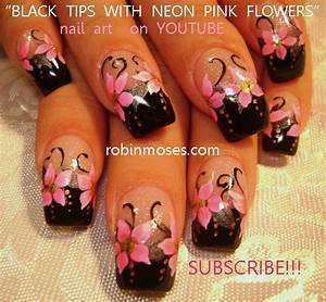 Robin Moses Nail Art hot neon pink and black nails mint