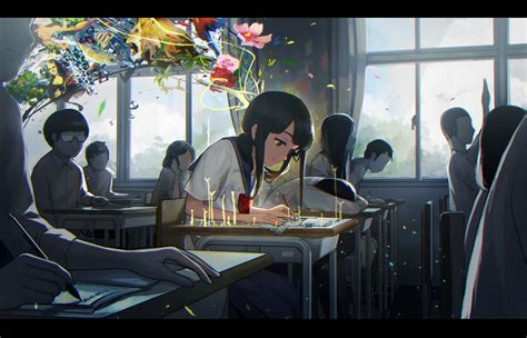 Anime Studying Wallpaper - classroom flowers gray background school studying