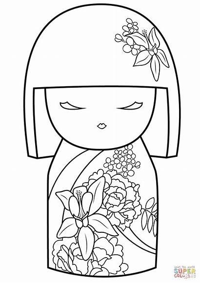 Coloring Japanese Kokeshi Pages Doll Dolls Kimmi