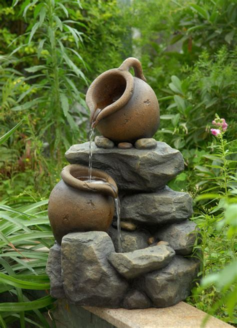 small pots water fountain contemporary indoor
