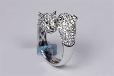 womens diamond double panther animal ring  gold  ct