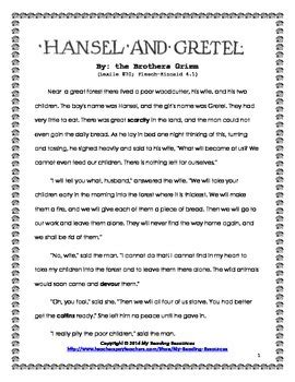 hansel  gretel short story unit   reading resources