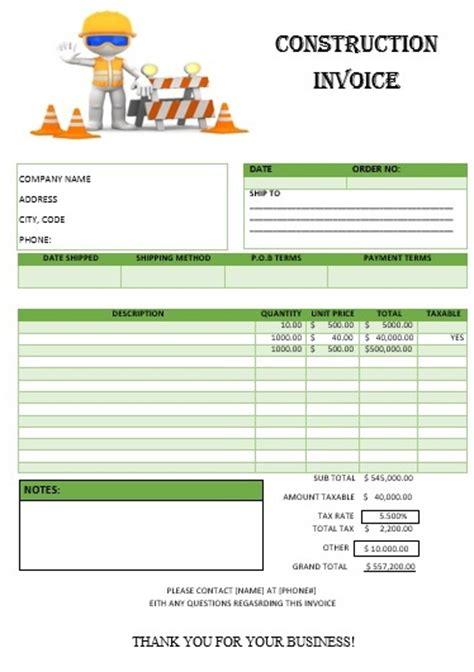 construction invoice template construction invoice template free word templates demplates