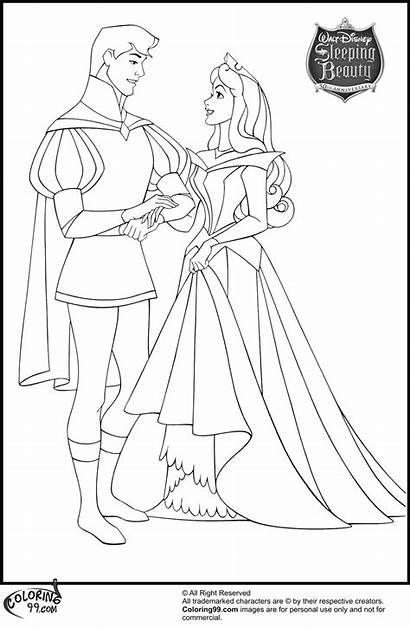 Aurora Coloring Pages Prince Princess Disney Phillip