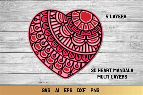Free svg image & icon. 3d Layered Heart Mandala| Multi Layer Heart SVG Cut File ...