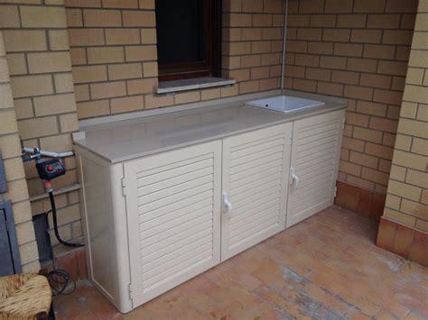mobile da terrazzo armadi bassi in alluminio con lavandino per esterni alfa