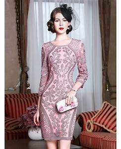 classy pink embroidery short wedding guest dress 3 4 With 3 4 sleeve wedding guest dress