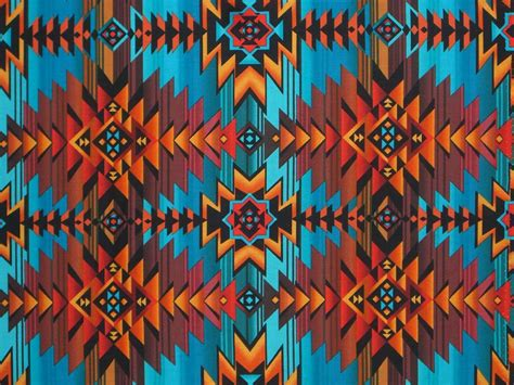 turquoise and rust southwest blanket print pure cotton fabric one yard from fabricsandtrimmings