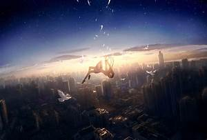 Download 1920x1299 Anime Girl, Falling Down, Cityscape ...