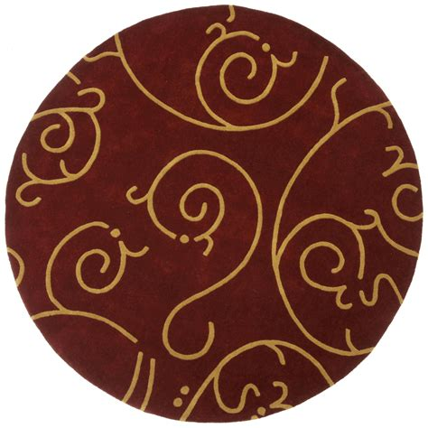 hand tufted burgundy archer round wool rug 6 39 x 6