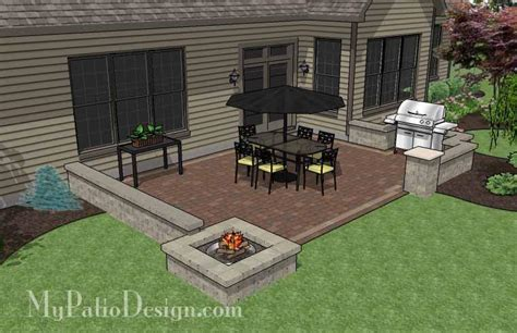 Rectangular Patio Design with Seat Walls and Fire Pit