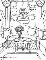 Coloring Pages Interior Adults Adult Sheets Colouring Printable Living Rooms Point Gonsowski Fred Perspective Getcolorings Drawings Colour Coloriages Cool Interiors sketch template