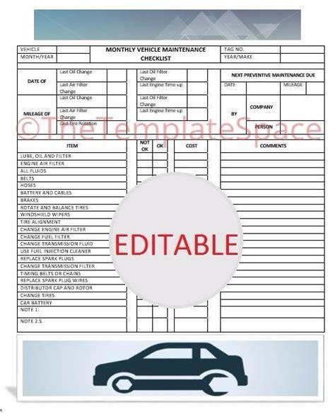 editable monthly vehicle maintenance checklist printable