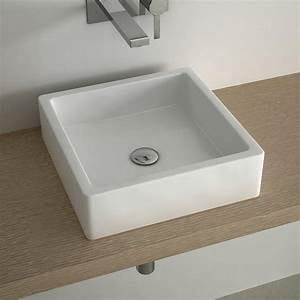 vasque a poser carree 40x40 cm ceramique pure With salle de bain design avec vasque 40 x 40